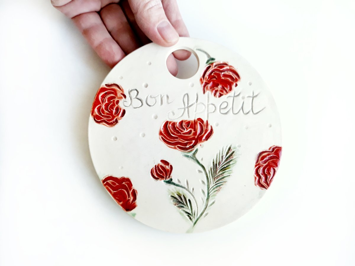 Ceramic chopping board ''Roses''